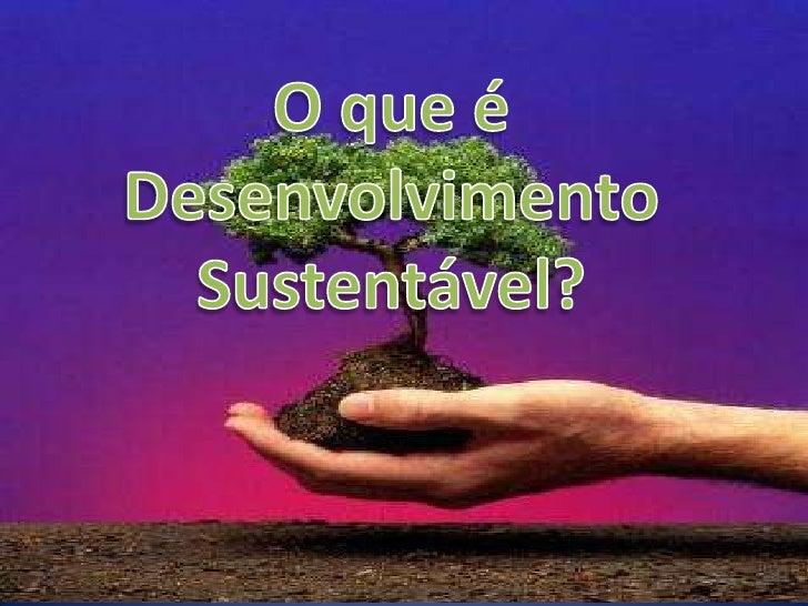 """""""DESENVOLVER EM HARMONIA COM AS                  LIMITAÇÕES ECOLÓGICAS DO PLANETA, OU SEJA SEM                  DESTRUIR O..."""