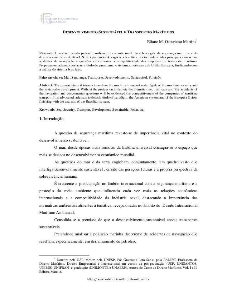 DESENVOLVIMENTO SUSTENTÁVEL E TRANSPORTES MARÍTIMOS                                                                       ...