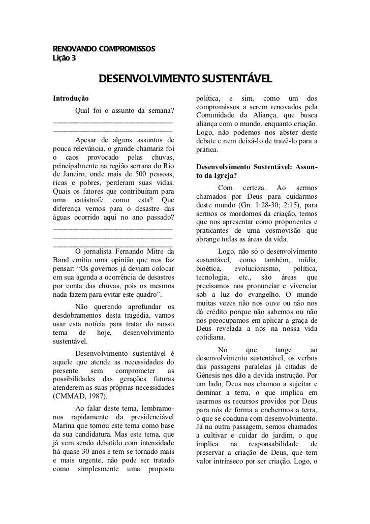 RENOVANDO COMPROMISSOSLição 3              DESENVOLVIMENTO SUSTENTÁVELIntrodução                                política, ...