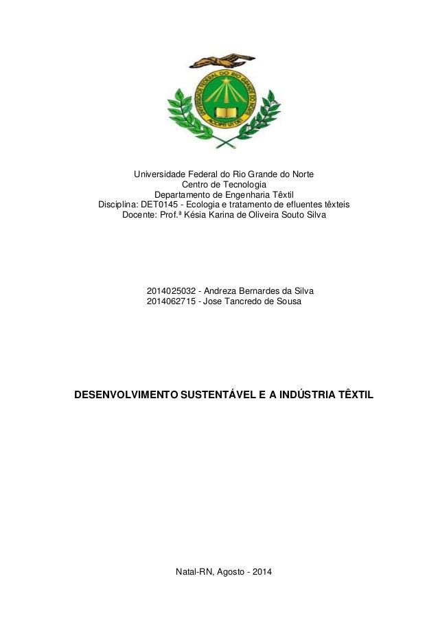 Universidade Federal do Rio Grande do Norte  Centro de Tecnologia  Departamento de Engenharia Têxtil  Disciplina: DET0145 ...