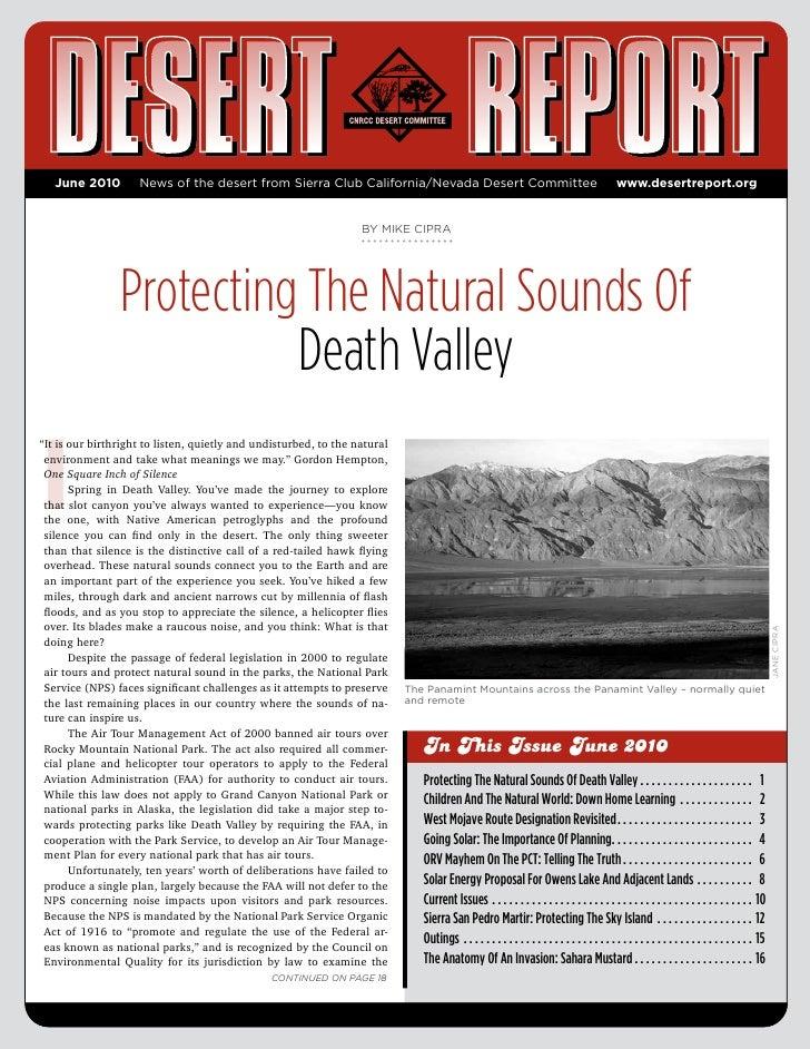 June 2010        News of the desert from Sierra Club California/Nevada Desert Committee                                   ...