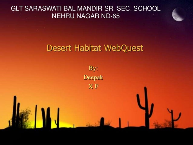 GLT SARASWATI BAL MANDIR SR. SEC. SCHOOL          NEHRU NAGAR ND-65         Desert Habitat WebQuest                    By:...