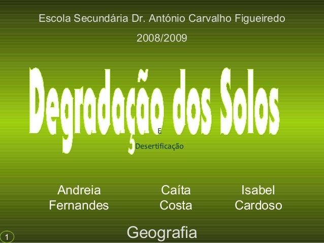 Andreia Fernandes Caíta Costa Isabel Cardoso Escola Secundária Dr. António Carvalho Figueiredo 2008/2009 Geografia1 E Dese...
