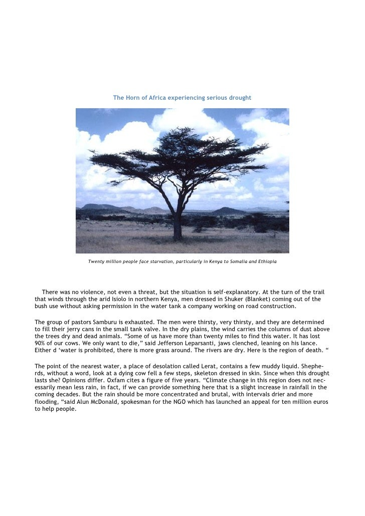 The Horn of Africa experiencing serious drought                         Twenty million people face starvation, particularl...