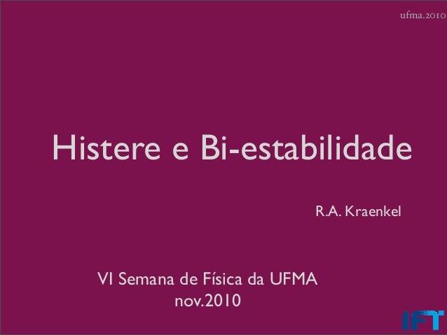 ufma.2010Histere e Bi-estabilidade                             R.A. Kraenkel   VI Semana de Física da UFMA            nov....