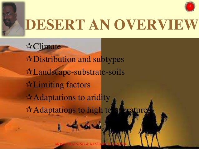 DESERT AN OVERVIEW Climate Distribution and subtypes Landscape-substrate-soils Limiting factors Adaptations to aridit...