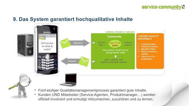 Self-service im Web & mobil! 9. Das System garantiert hochqualitative Inhalte <ul><li>Fünf-stufiger Qualitätsmanagementpro...