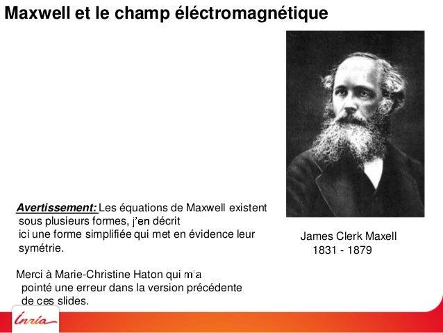 Maxwell et le champ éléctromagnétique Champ électrique Variations en temps du champ magnétique x E = -