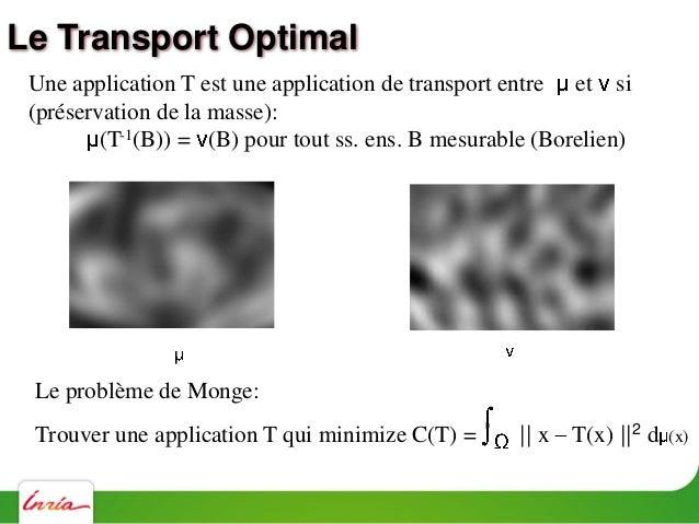 Une application T est une application de transport entre et si (T-1(B)) = (B) pour tout sous-ens. de Borel B B T-1(B) (X; ...