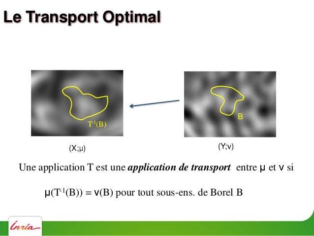 Le Transport Optimal - Kantorovich Problème de Monge: Trouver une app. de transport T qui min. C(T) =    x T(x)   2 d (x) ...