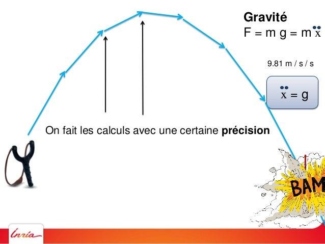 Gravité F = m g = m x 9.81 m / s / s x = g On fait les calculs avec une certaine précision On peut augmenter cette précisi...
