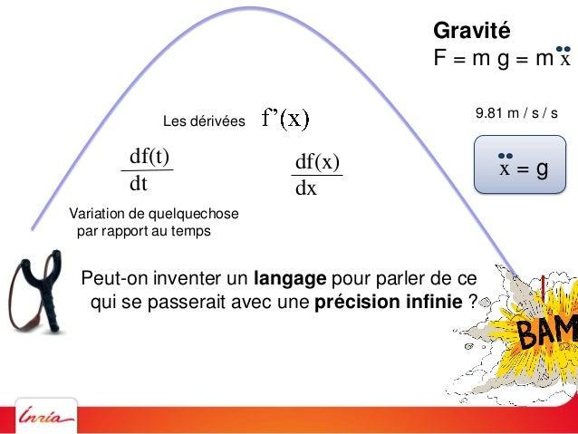 Gravité F = m g = m x 9.81 m / s / s x = g Peut-on inventer un langage pour parler de ce qui se passerait avec une précisi...