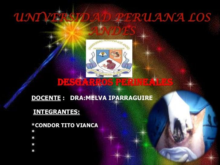 UNIVERSIDAD PERUANA LOS ANDES<br />Desgarros perineales<br />DOCENTE :   DRA:MELVA IPARRAGUIRE<br />INTEGRANTES:<br />*CON...