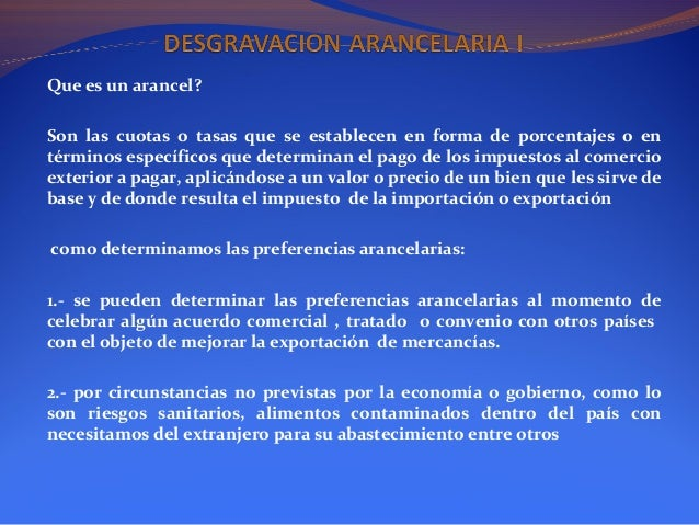 Desgravacion Arancelaria
