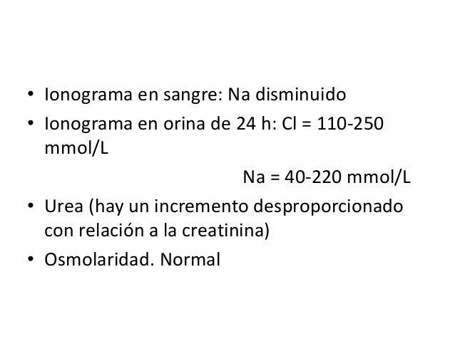 • Ionograma en sangre: Na disminuido• Ionograma en orina de 24 h: Cl = 110-250  mmol/L                            Na = 40-...