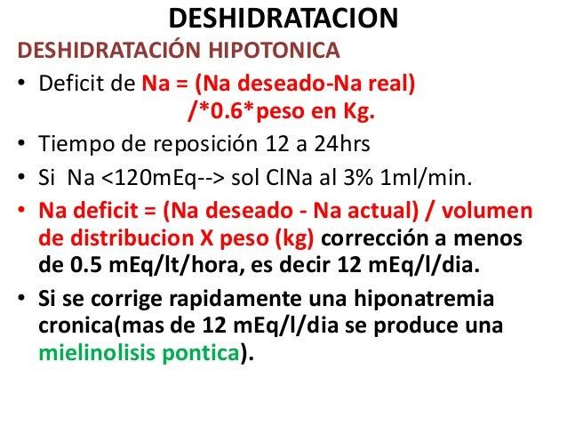 DESHIDRATACIONDESHIDRATACIÓN HIPOTONICA• Deficit de Na = (Na deseado-Na real)                  /*0.6*peso en Kg.• Tiempo d...