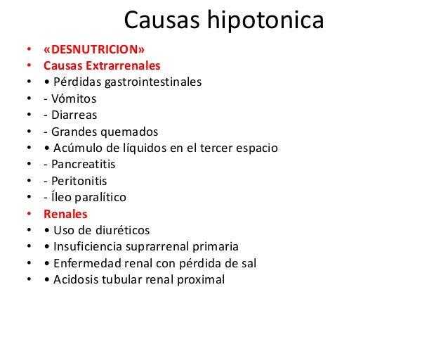 Causas hipotonica•   «DESNUTRICION»•   Causas Extrarrenales•   • Pérdidas gastrointestinales•   - Vómitos•   - Diarreas•  ...
