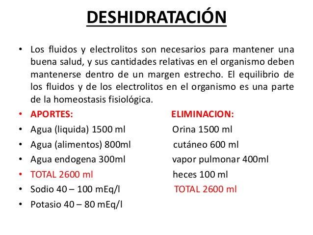 DESHIDRATACIÓN• Los fluidos y electrolitos son necesarios para mantener una  buena salud, y sus cantidades relativas en el...