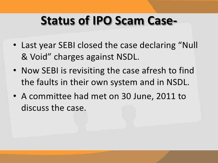 case study on demat scams yes bank The 2003-05 ipo scam came into limelight when an investigation into yes bank ipo found market investor had unlawfully got shares in the primary market some individuals had acquired shares intended for retail candidates using benami demat accounts.