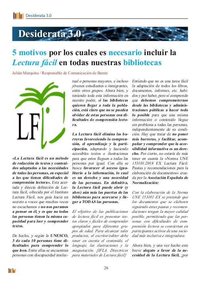Desiderata 3.0 5 motivos por los cuales es necesario incluir la Lectura fácil en todas nuestras bibliotecas Julián Marquin...