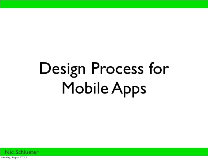 Design Process for                          Mobile Apps  Nic SchlueterMonday, August 27, 12