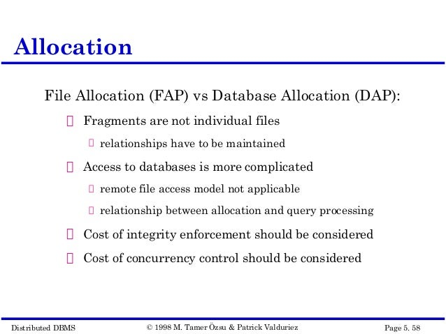 fragment allocation in distributed database design Lecture 4 distributed database design 2 8 allocation the execution of update queries the system has to ensure that all the copies of the data are updated properly a non-replicated database (commonly called a partitioned database) contains fragments that are allocated to sites, and there is only one copy of any fragment on the network.