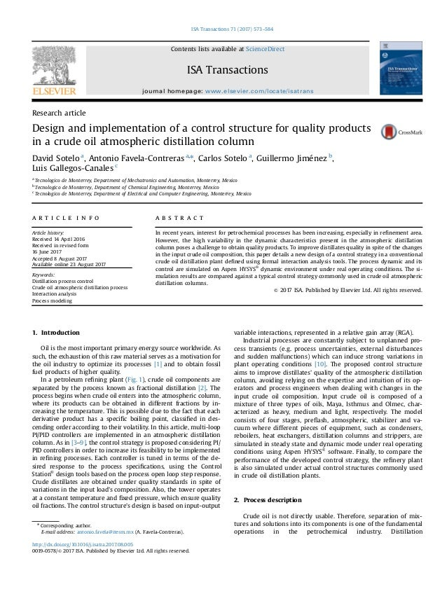 Research article Design and implementation of a control structure for quality products in a crude oil atmospheric distilla...