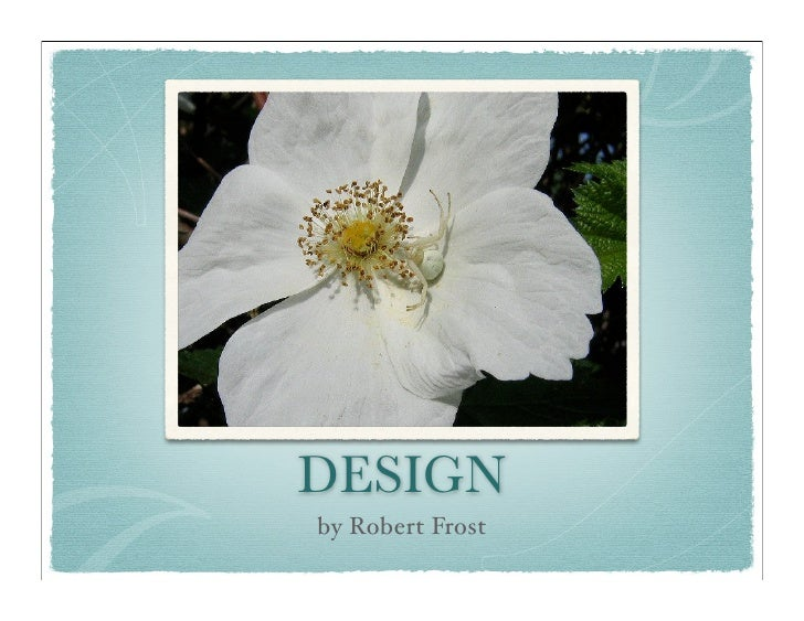 essay on robert frost design About design though very short and conveying a simple image of a spider landing on a flower, we soon realize that frost is also questioning life and its cruelties.