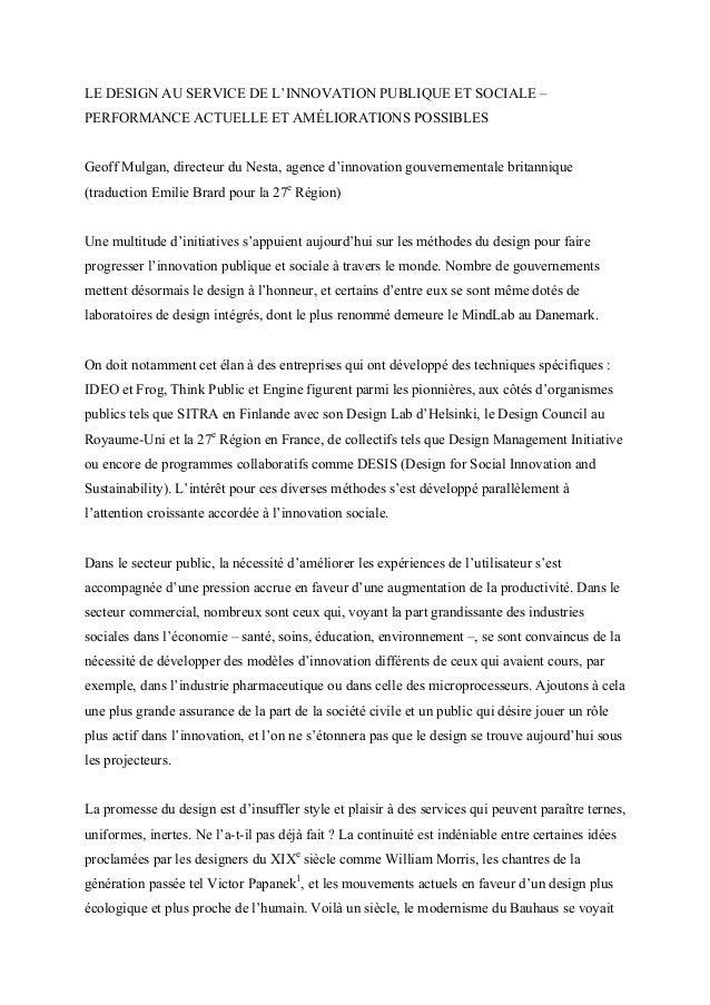 LE DESIGN AU SERVICE DE L'INNOVATION PUBLIQUE ET SOCIALE –PERFORMANCE ACTUELLE ET AMÉLIORATIONS POSSIBLESGeoff Mulgan, dir...