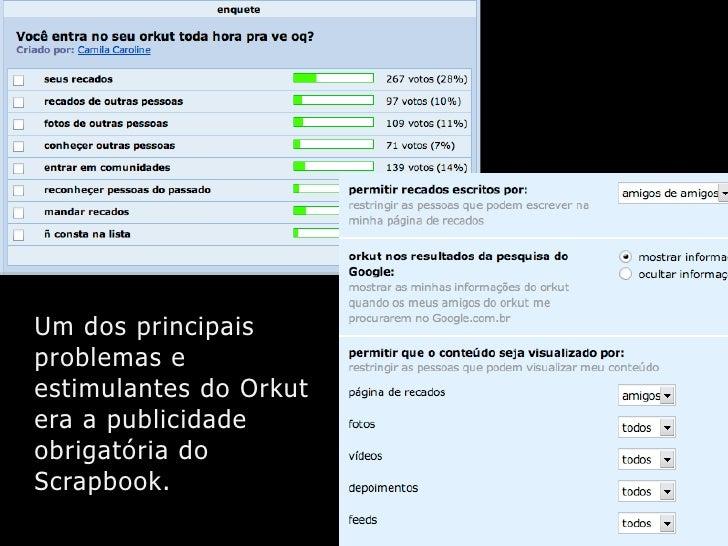 Um dos principais problemas e estimulantes do Orkut era a publicidade obrigatória do Scrapbook.