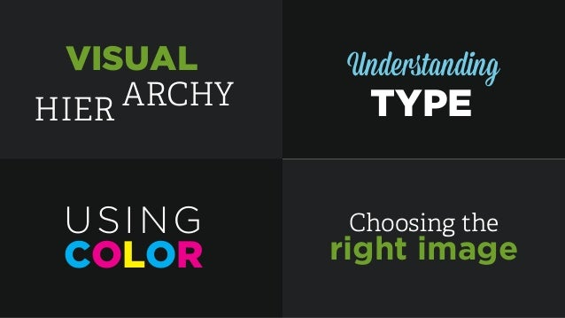 HIER ARCHY VISUAL Understanding TYPE COLOR USING Choosing the right image