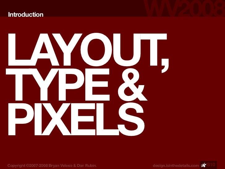 Introduction     LAYOUT, TYPE & PIXELS                S10