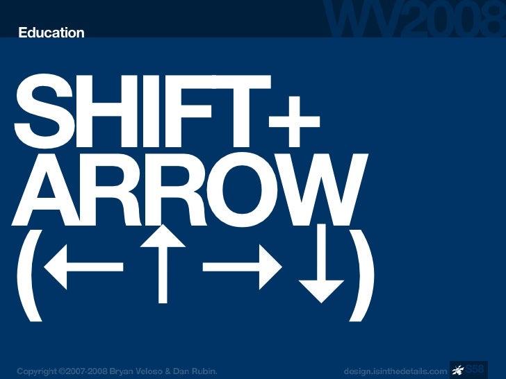 Education     SHIFT+ ARROW (←↑→↓)             S58
