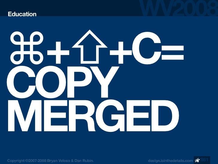 Education     ⌘+⇧+C= COPY MERGED             S61