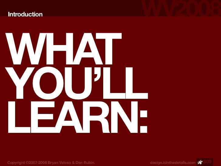 Introduction     WHAT YOU'LL LEARN:                S09
