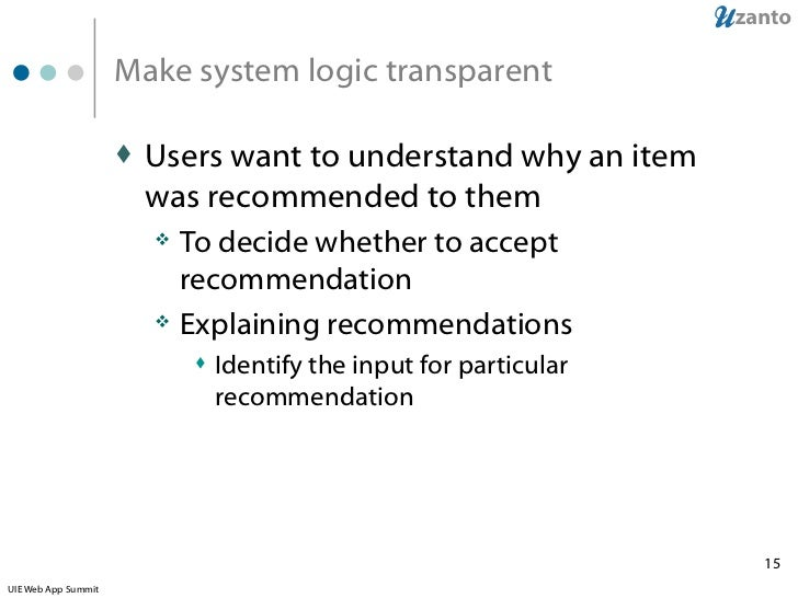 Design of recommender systems
