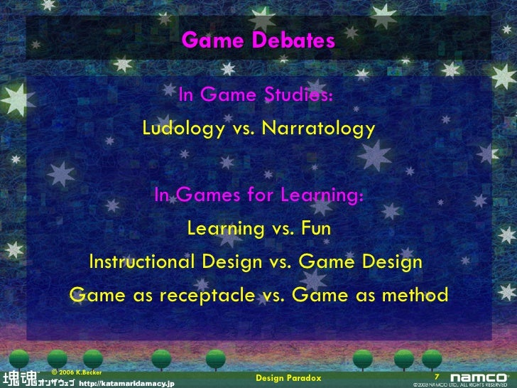 """narratology vs ludology in video games Narratology & ludology assignment  the so-called narratology vs ludology """"debate"""" for many games scholars, the notion that games ought to—indeed,."""