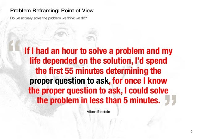 If I had an hour to solve a problem and mylife depended on the solution, I'd spendthe first 55 minutes determining theprop...