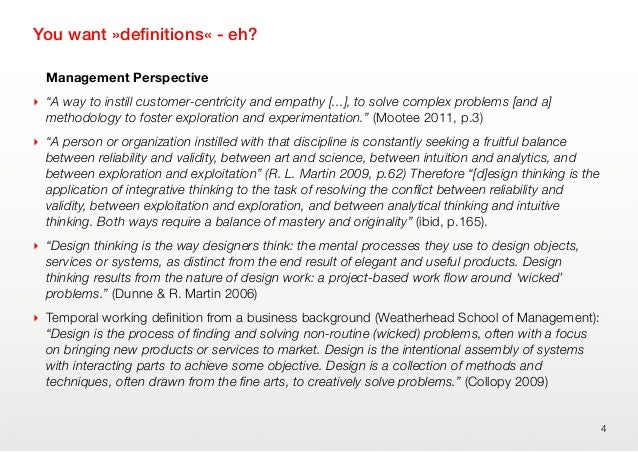 """You want »definitions« - eh?Management Perspective‣ """"A way to instill customer-centricity and empathy [...], to solve compl..."""