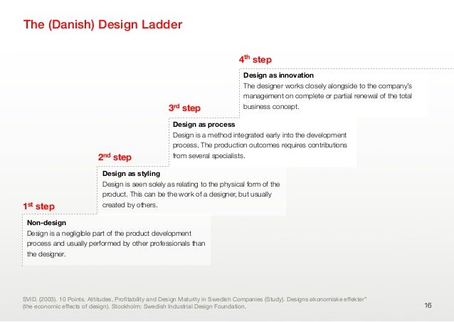 The (Danish) Design Ladder16Non-designDesign is a negligible part of the product developmentprocess and usually performed ...