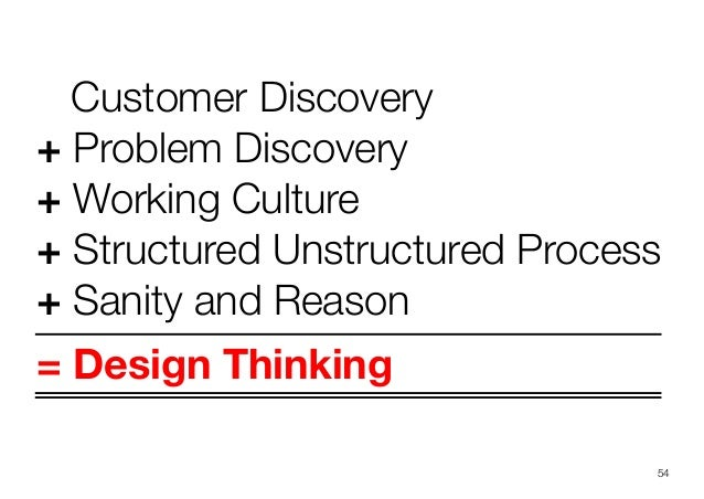 Customer Discovery+ Problem Discovery+ Working Culture+ Structured Unstructured Process+ Sanity and Reason= Design Thinkin...