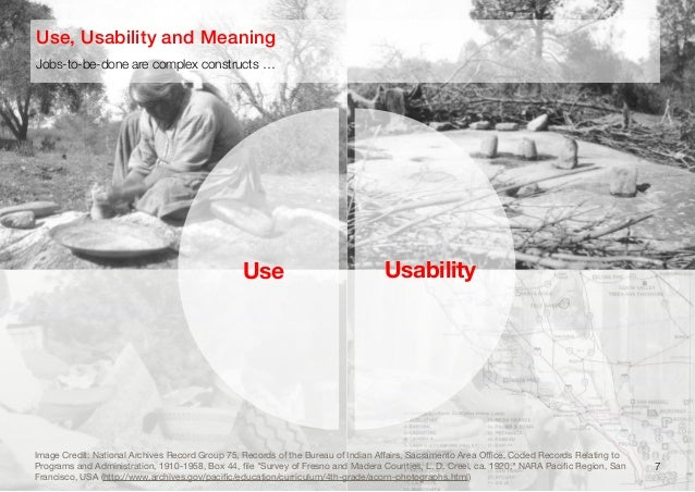 7Jobs-to-be-done are complex constructs …Use, Usability and MeaningUse UsabilityImage Credit: National Archives Record Gro...