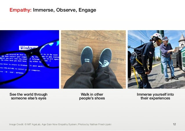 Empathy: Immerse, Observe, Engage12See the world throughsomeone else's eyesWalk in otherpeople's shoesImmerse yourself int...