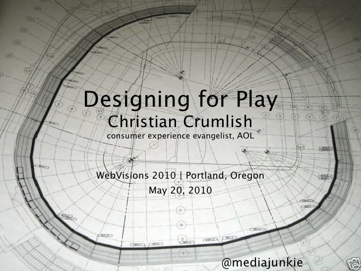 Designing for Play    Christian Crumlish    consumer experience evangelist, AOL      WebVisions 2010 | Portland, Oregon   ...