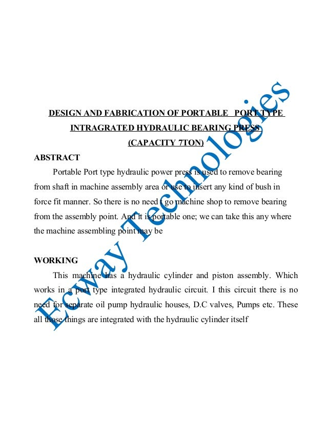Design and fabrication of portable hydraulic power press