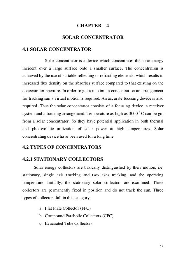 Design and fabrication of solar conentrator ( content )