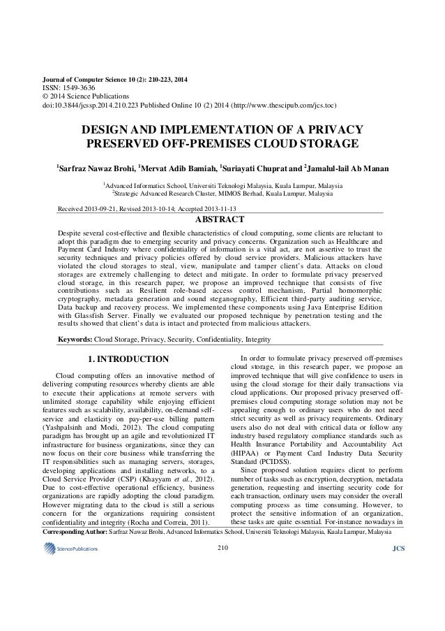 Journal of Computer Science 10 (2): 210-223, 2014  ISSN: 1549-3636 © 2014 Science Publications doi:10.3844/jcssp.2014.210....
