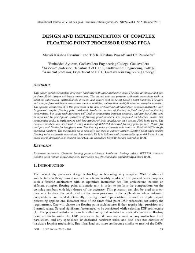 International Journal of VLSI design & Communication Systems (VLSICS) Vol.4, No.5, October 2013  DESIGN AND IMPLEMENTATION...