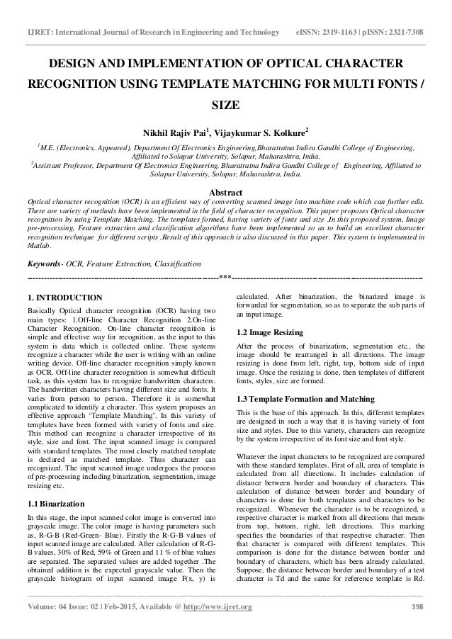 Design and implementation of optical character recognition using temp…