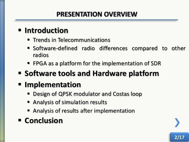 Design and implementation of sdr based qpsk transceiver using fpga